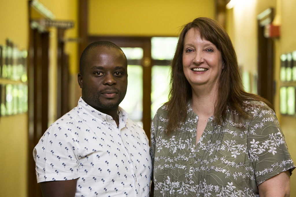 05/25/2018 - Grafton, Mass. - One Health Fellow Dieudonne Hakizimana (left) poses for a photo with _______________ at the Cummings School of Veterinary Medicine on May 25, 2018. (Anna Miller/Tufts University)