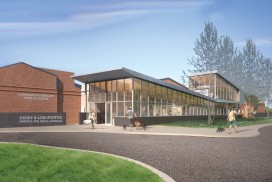 Rendering of Exterior view of Foster Hospital for Small Animals